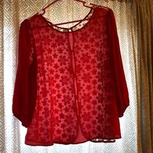 Red blouse with back detail